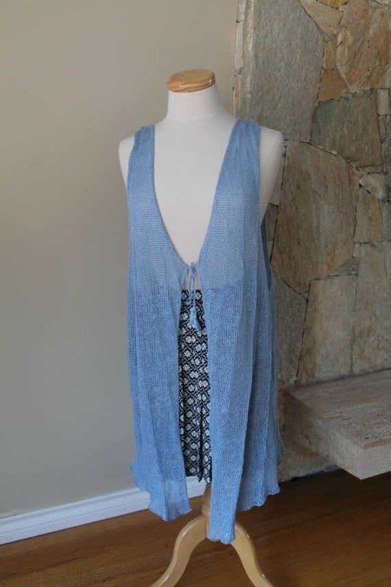 70s Artisan Sheer Long Crocheted Vest, Japanese Vi