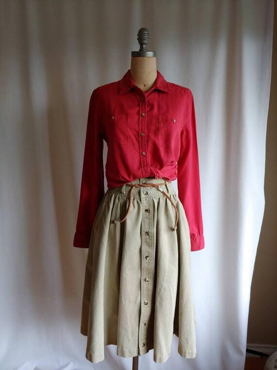 80s denim Ralph Lauren riding skirt cowgirl khaki… - image 10