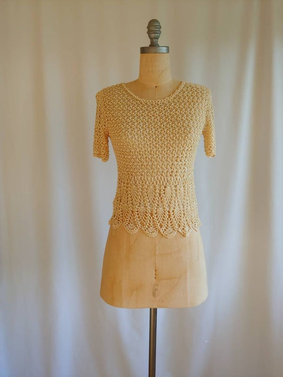 20s 30s art deco silk crocheted antique cream blou