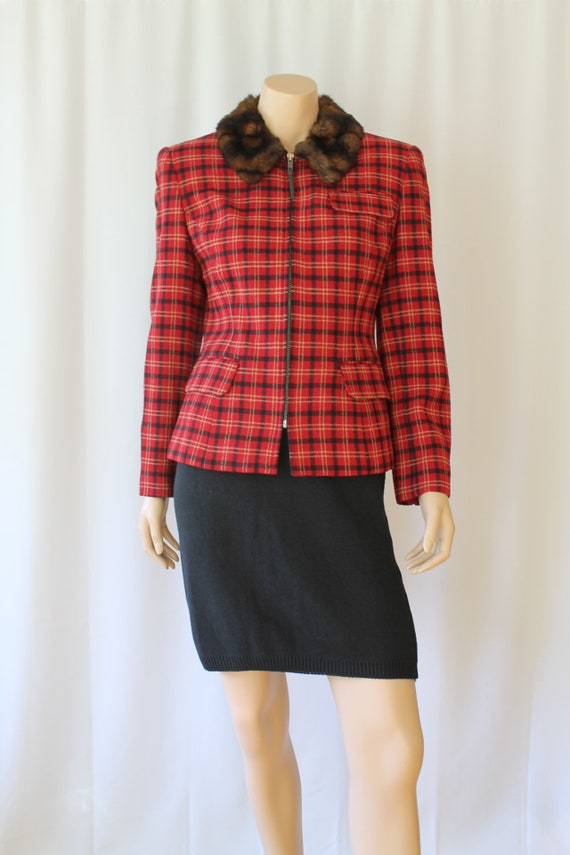 Ralph Lauren 49ers Red Plaid Wool Jacket with faux