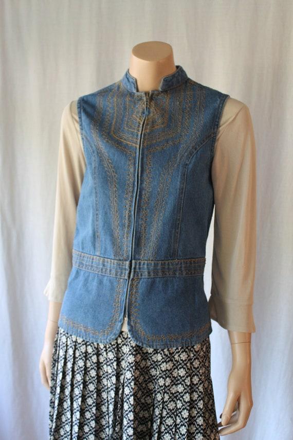 70s Denim Vest, Jeans Vest, Bohemian vest, Morocca