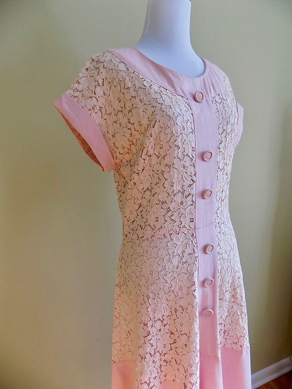 1930s 30s 1940s 40s Pink Lace and Linen Pink Peac… - image 3