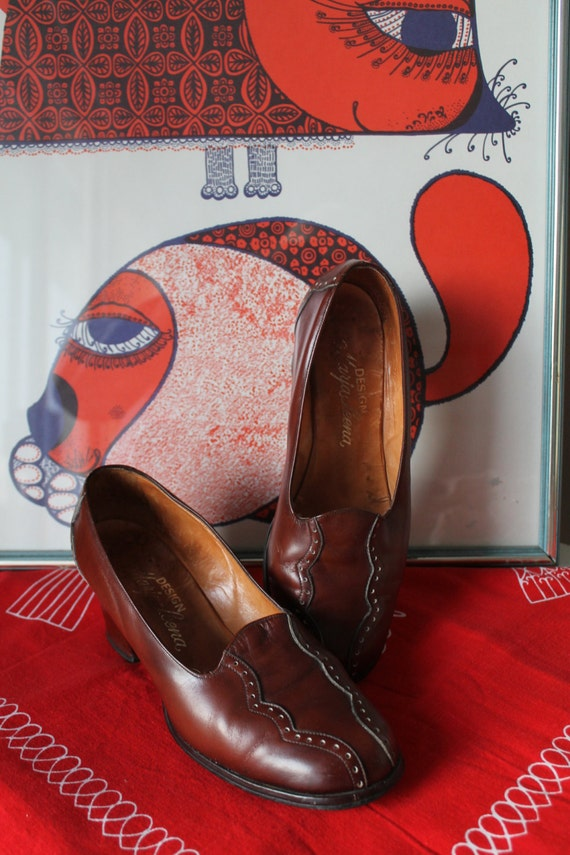 60s Mod Shoes, 60s Leather Pumps, Handmade Finnish