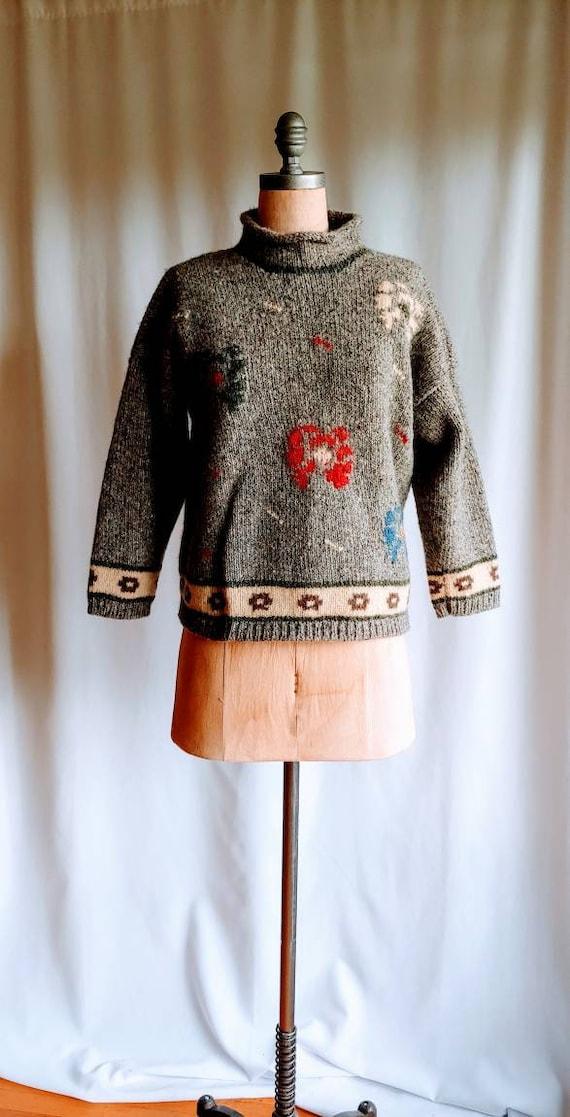 Ouira Irish Wool Pullover Sweater, Hand Knit chunk