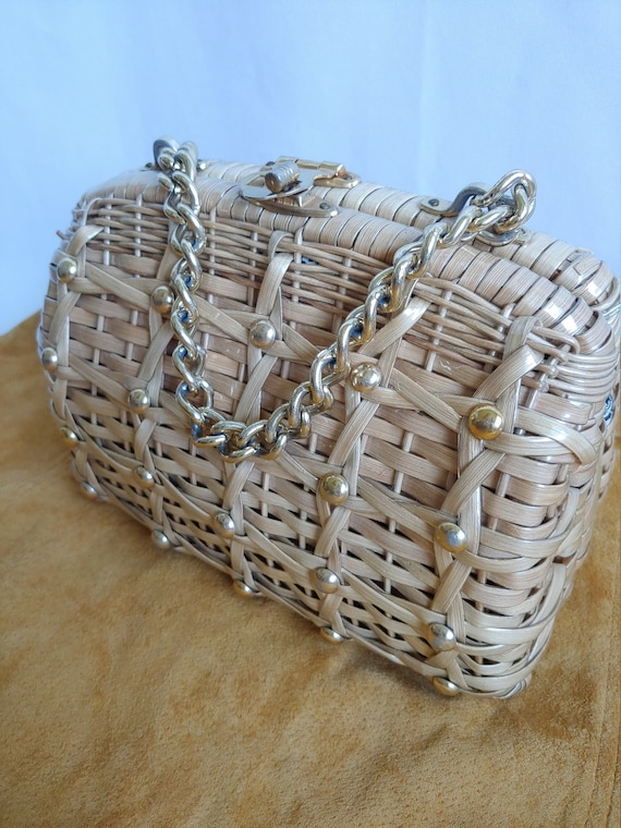 60s Wicker Purse - 1960s Wicker Purse with Studs … - image 5