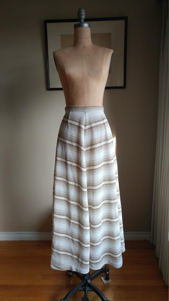 60s chevron Gold Lurex Knit Maxi Skirt Carnaby Str