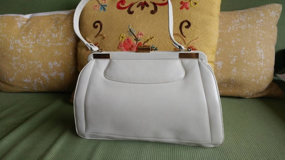 60s Purse, 60s Handbag, Cream Purse, Cream Leather