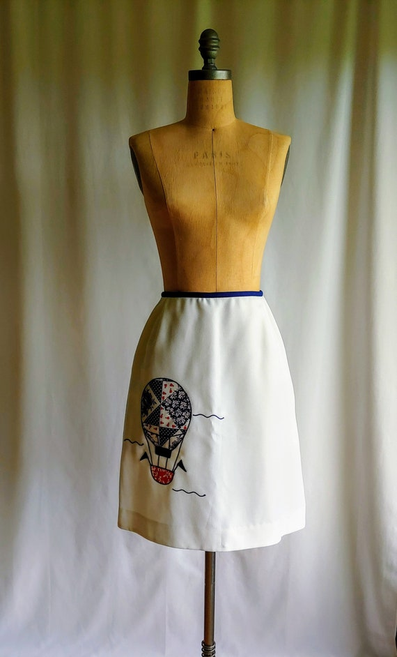 60s Mod Skirt, 60s Air Balloon Skirt, 60s White Sk