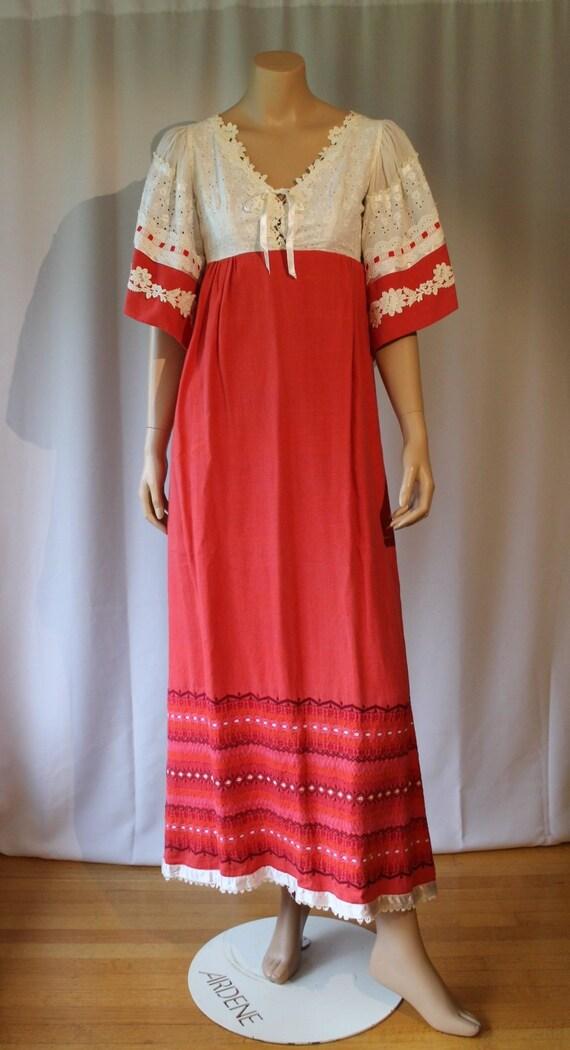 Woven Flax Dress, Prairie Dress, Gunne Sax, Woven