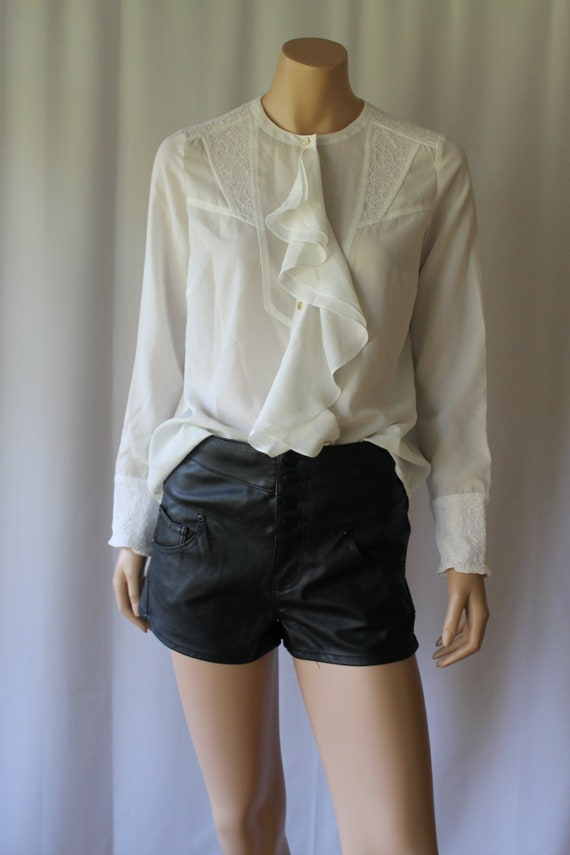 Leather Shorts, Black Leather Hot Pants, 90s Black