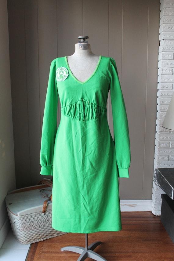 70s Mod Neon Green Poly Knit Ivana Helsinki Scandi