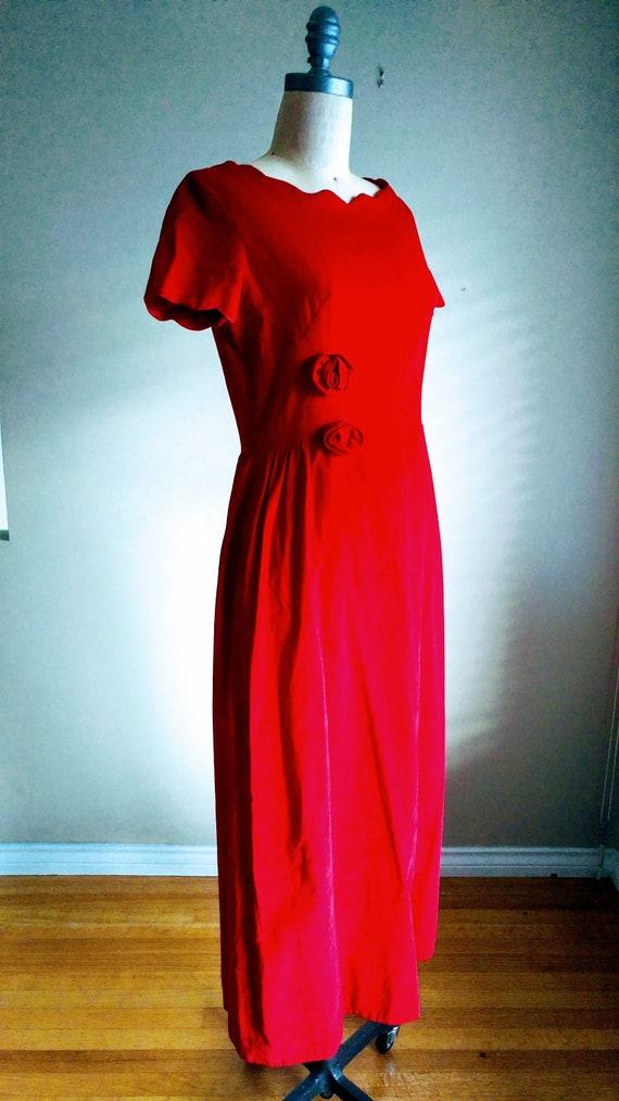 40s Red Velvet Dress, Velvet Party Dress, 50s Red