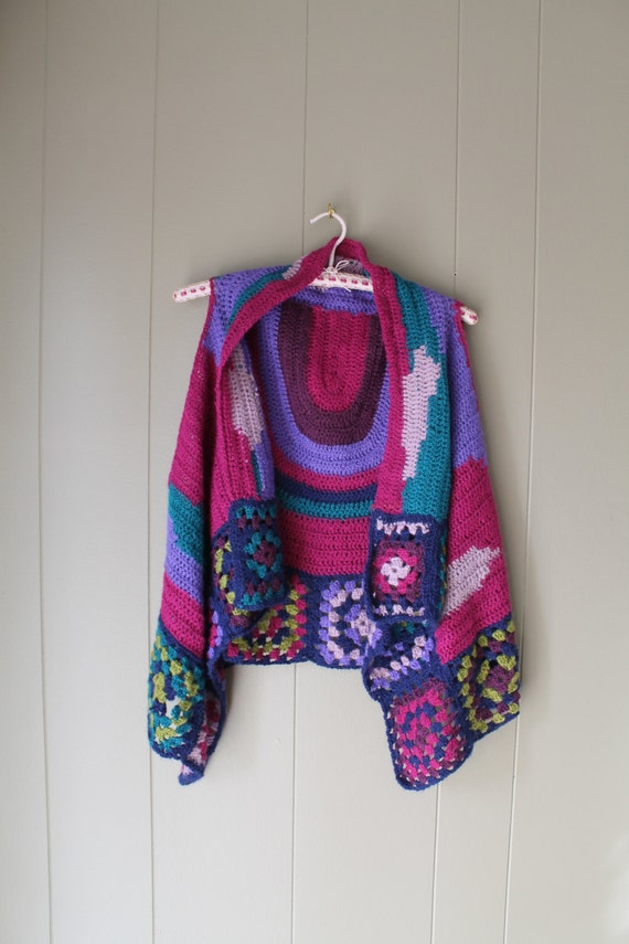70s Granny Square Vest Crocheted vest handmade Kn… - image 2