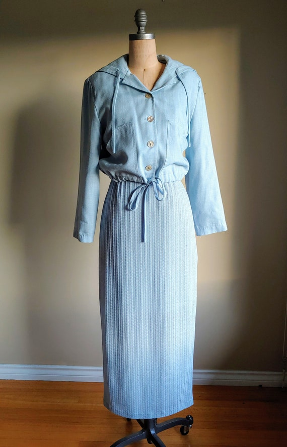 70s Linen Dress Set - Nautical Linen Suit - 70s Li
