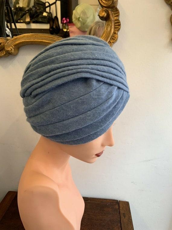 RARE 1960's Pale Blue Retro Turban, Wool Angora H… - image 2