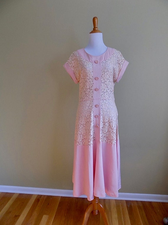 1930s 30s 1940s 40s Pink Lace and Linen Pink Peac… - image 2