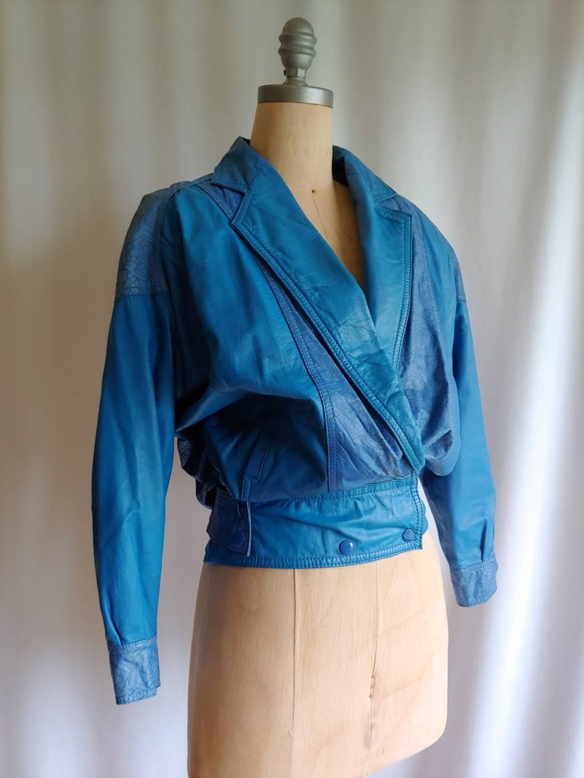Blouson Leather Jacket Bomber Motorcycle Moto Cropped Fitted Waist