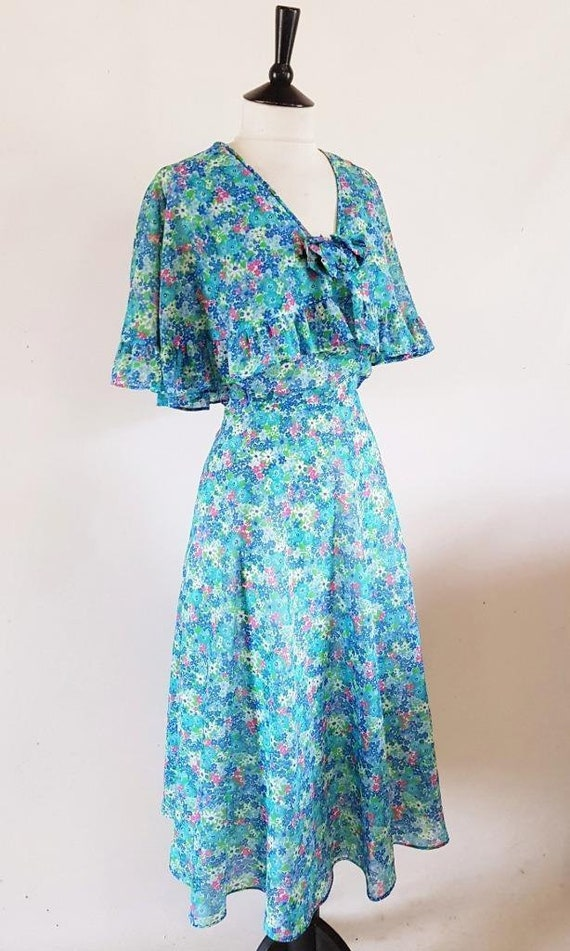 1970s Victorian Floral Tea Dress, 30s Style Chiffo