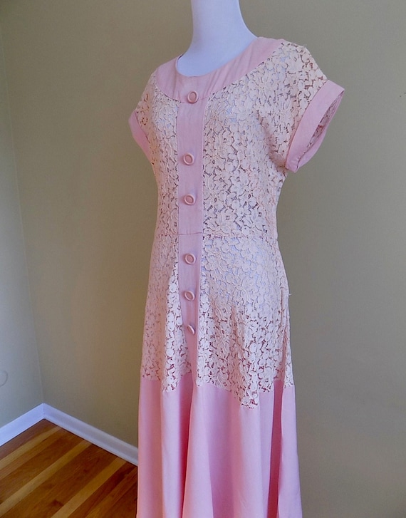 1930s 30s 1940s 40s Pink Lace and Linen Pink Peach