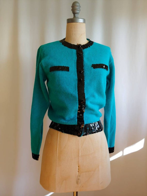 90s Angora and Sequin Sweater Dressy Teal Blue Ang