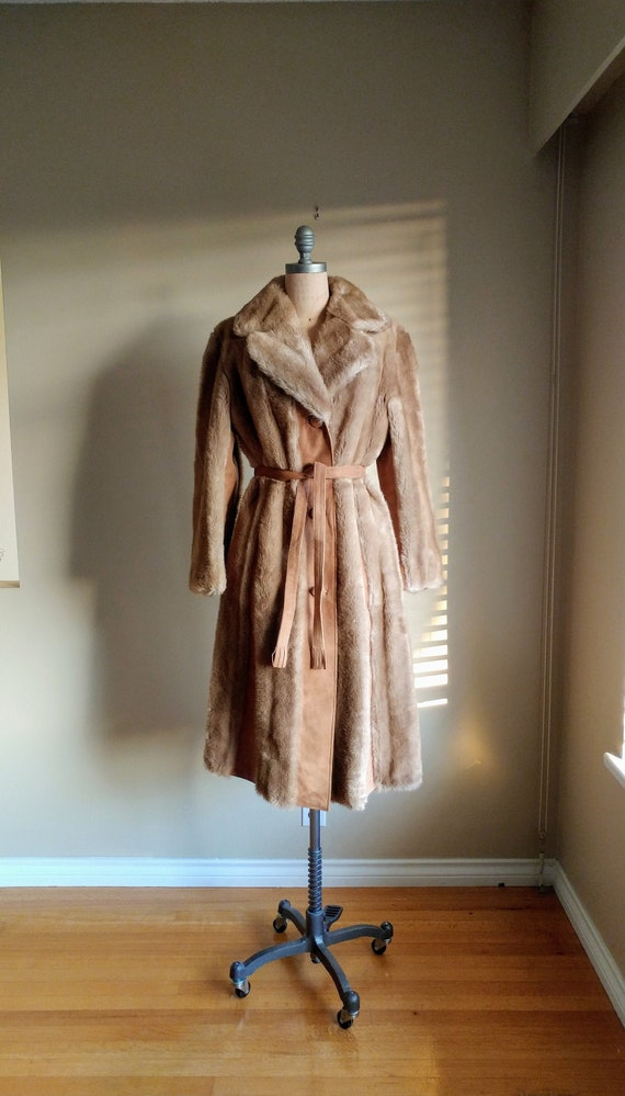 60s Mod Tissavel Faux Fur Coat with Suede 44 inch