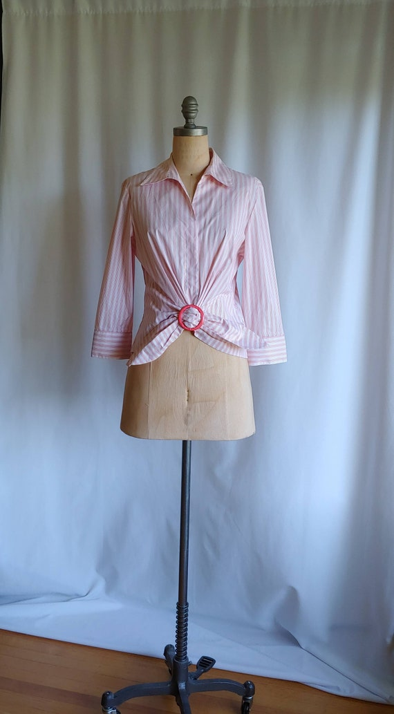 Lafayette French 40s Style Blouse -70s  Striped Sh