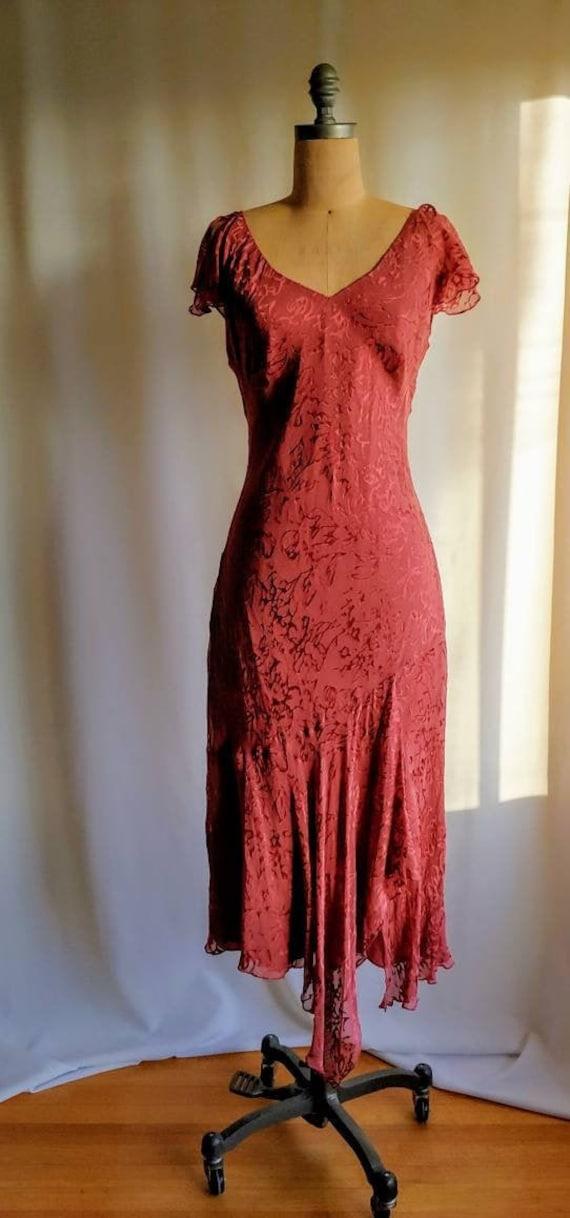 Laura Ashley silk 20s dress burnout silk flutter s