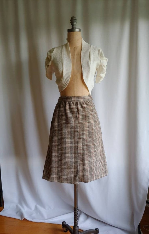 The Villager wool skirt 70s plaid  pockets xs