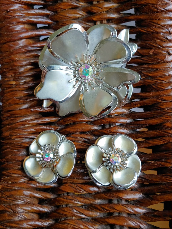 50s Brooch, 50s Earrings, Starburst Floral Jewellr