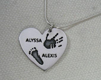 Large Sterling Silver .925 Handprint / Footprint / Paw Print Pendant Necklace