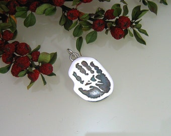 Sterling Silver .925 Handprint / Footprint / Paw Print Charm on a Jumpring or a Carrier Bead for Pandora
