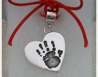 Sterling Silver .925 Handprint / Footprint / Paw Print Charm on Carrier Bead for Pandora