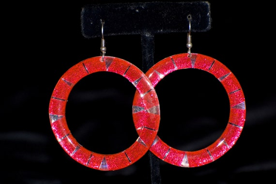 Pink Metallic Hoop Earrings