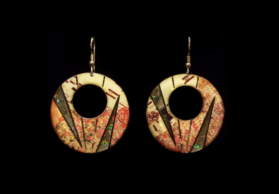 The Kiss- Klimt Large O Earrings
