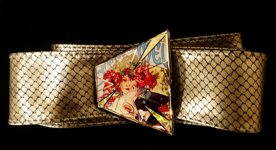 Art Nouveau Mucha Belt buckle with gold leather belt