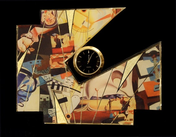 Modern Abstract Clock- Kandinsky, Picasso, and Dali inspired Clock