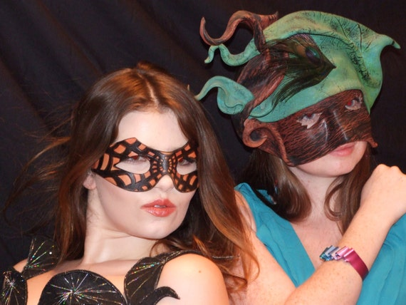 Hand made Leather Masks, Cobra Spiderman & Green Snake head