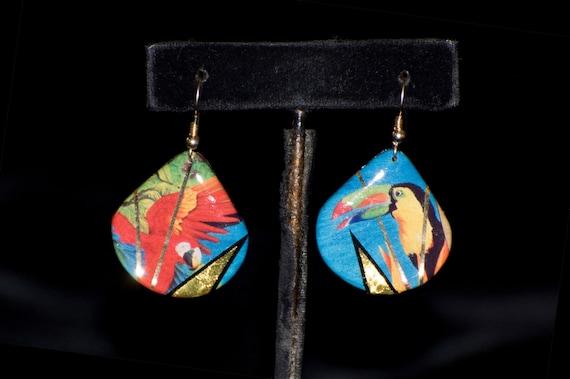 Teardrop Parrot Jungle Earrings