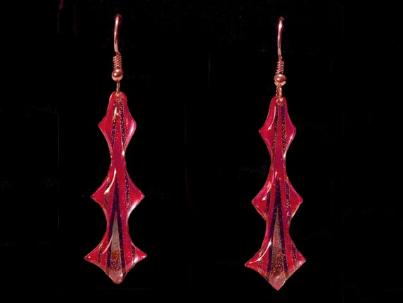 Pink metallic Lightning Bolt Shaped Earrings