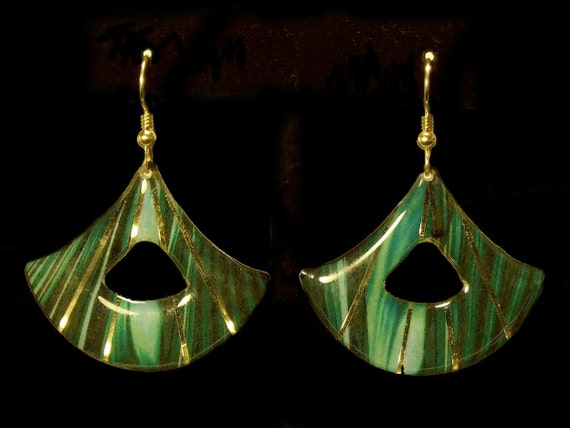 Green Marble Wedge Earrings