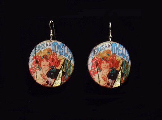 Art History Circular earrings; Art Nouveau Paris; Itallian rennaisance; kandinsky Modern