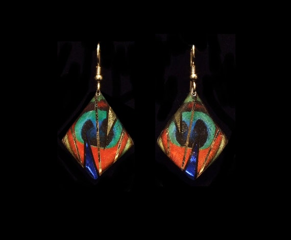 Peacock Feather Diamond Shape Earrings