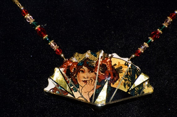 Alphonse Mucha Fan Necklace