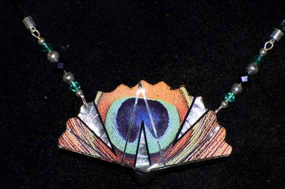 Peacock Fan Feather Necklace