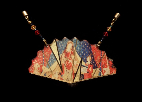 Unicorn Tapestry Fan Necklace