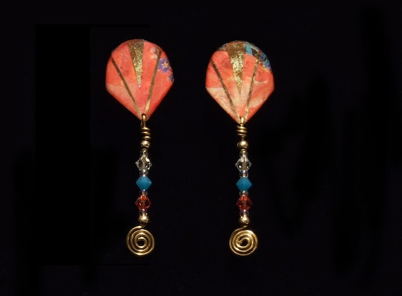 Abstract Roses Beaded Earrings