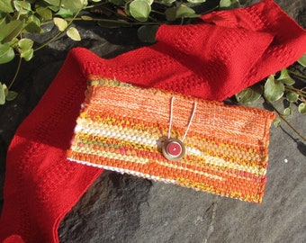Boho Fabric Phone Clutch Wallet, Eco Small Cloth Purse, Artisan Handmade Hand Woven Zero Waste Upcycled Recycled Jewelry Cosmetic Pouch