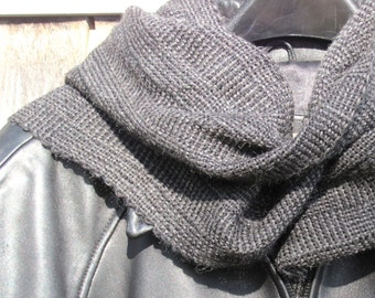 Gray Black Alpaca Scarf, Artisan Hand Woven Mens Womens Oversized Scarf, Long Urban Rustic Accessories, Hygge Mountain Cabin Winter Clothing