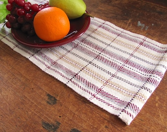 Cranberry Red & Gold Table Runner, Short Narrow Plaid Table Runner, Artisan Woven Rustic Country Modern Farmhouse Decor Holiday Centerpiece