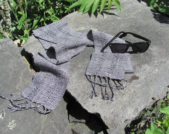 Inky Jet Black & White Cotton Scarf, Artisan Hand Woven Lace Stripe Long Lightweight Mens Womens Zen Yoga Spiritual Grounding Energy Scarf